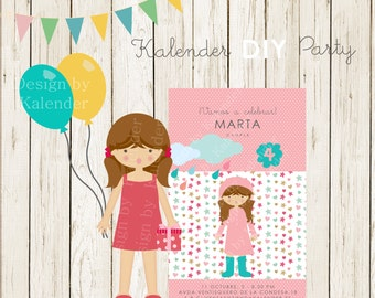 Personalized Birthday Party. Teenager Invitation-3. DIY Printable.