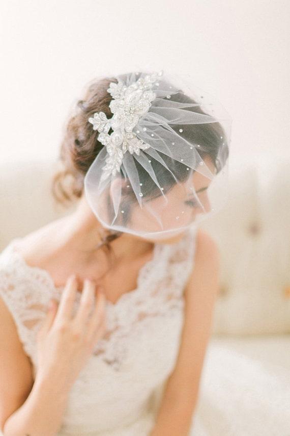 Crystal Lace Birdcage Veil, Tulle Birdcage Veil with Crystals, Blusher Veil #718