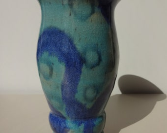 Aqua Blue with Circles Stoneware Vase