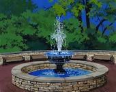 Ceramic Tile-Naperville, Illinois-White Plaza Fountain-Tile Coaster-Art Tile-Ceramic Coaster-Decorative Artwork-Housewarming Gift
