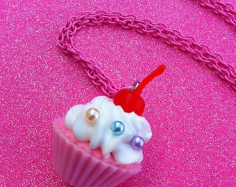 Huge Cherry Cupcake Necklace