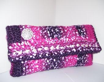Clearance Sale Crochet clutch bag Evening lilac clutch Evening pink purse Crochet Purse Bags and Purses Designer Purses