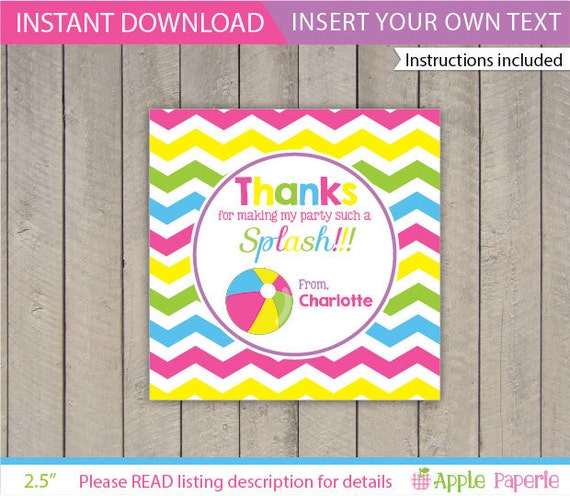 Pool Party Gift Tag