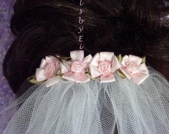 Flower Girl Veil on Comb/Barrette, Choice of Flowers, Lime Green, Pink, Slate Blue, Black