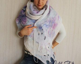 Nuno Felted Silk Scarf Shawl Wrap WHITE LILAC SUMMER Ecofriendly