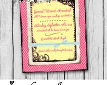 Church Invitation, LDS Invitation Poster, Mormon, Poster, Event Invitation, General Women's Broadcast, Pink, Yellow - Custom Digital Print