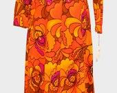RESERVED FOR LAFLAMENCA Vintage Retro Psychedelic Patterned Maxi Dress size 8 item #2139