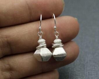 Brushed Silver Earrings, Simple Sterling Earrings, Silver Dangle Earrings, Stacked Earrings, Minimalist Earrings