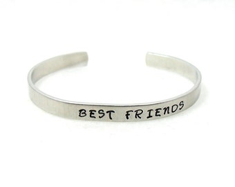 Best Friends Cuff, Friends Cuff, Custom Bracelet Cuff, Personalized Bracelet, Custom Cuff, Hand Stamped Cuff, Stainless Steel Cuff,
