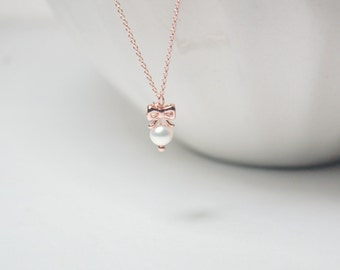 Tie The Knot necklace, rose gold pearl bow.bridesmaid necklace, bridal necklace, sweet 16 birthday,gift under 25,Christmas gift,delicate .