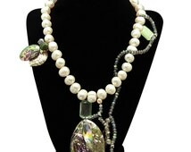 """Handmade Unique Couture sea shell, pearl, jade, labradorite, opal cat's eye and silver necklace, 19"""""""