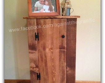 Handmade wooden storage-jelly cabinet or pantry, Primitive End Table, Many uses including entryway-kitchen-bathroom-laundry room