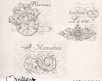 Art Script Stamps - Digital Scrapbook Overlays - Personal and Commercial Use, D017 - Instant Download