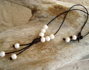 PEARL/ LEATHER NECKLACE  (Ann)