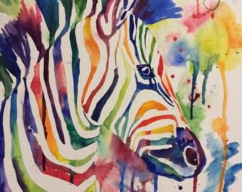 Zebra Watercolor Print- Kristin Douglas