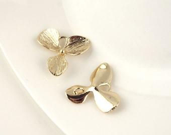 2pcs 24K Gold filled Brass Clover Charm Pendant Spacer bracelet necklace double hole connector (#10001053)