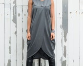 Asymmetric Long Tunic / Grey Maxi Tunic / Tunic Top / Plus Size Available