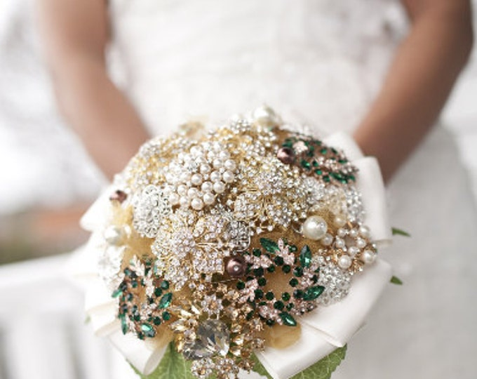 Enchanted Emerald Green Silver and Gold Brooch Bouquet