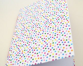 handmade Polka Dot notebook handbound A5 white blank paper, dotted jacket, sketch book for writing, sketching, doodling