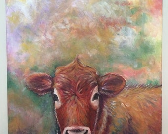 Original cow painting - acrylic on canvas by Amy
