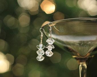 Clear Glass Dangling Earrings