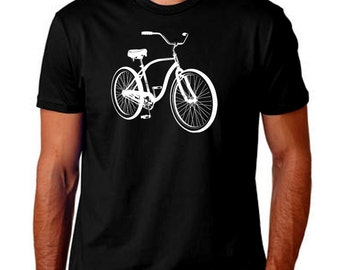 Bicycle Men T-Shirt. Hand Screen Printed Tee. Great Quality. Very Soft. Bike Ride Sports Biking