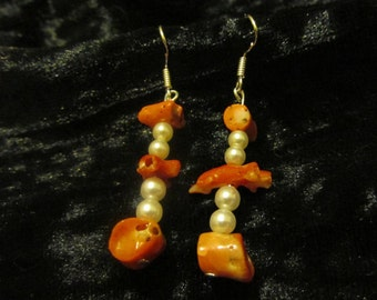 Red Coral and Pearl Earrings - Pierced, Hand Crafted, Upcycled from Vintage Necklaces