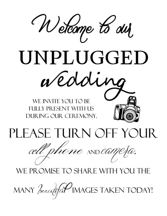 welcome to our unplugged wedding sign. Black Bedroom Furniture Sets. Home Design Ideas