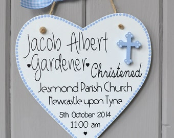 Personalised Christening plaque. Personalised baby boy gift and Keepsake.  Baptism plaque