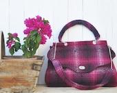 Shoulder/Hand Bag Red Velvet (oversized woolen shoulder bag with cute polka dots inner and lining pocket)