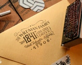 """Cutest little vintage-inspired return address stamp in the whole world - 2.5"""" x 1.5"""" - Charlotte"""