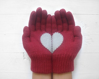 MOTHER'S DAY GIFT, Heart Gloves, Burgundy Gloves, Cherry Gloves, Grey, Special Gift, Gift For Her, Hearts, Romantic, Mother Gift Idea, Mom