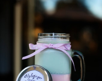 Large mason jar hand poured scented soy candle.