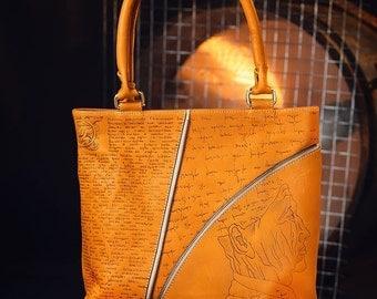 Men's leather handmade tote bag, pyrographied print Human Mecanics 2