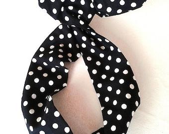 Rockabilly Pin up Headband Black Polka Dot  Wire
