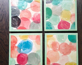 Watercolor Spot Coasters, Set of 4