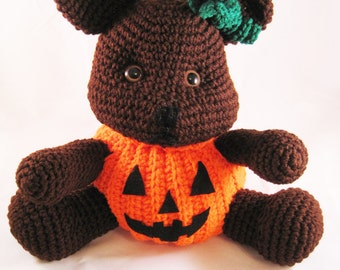 "Crocheted ""Trick or Treat"" Bear"