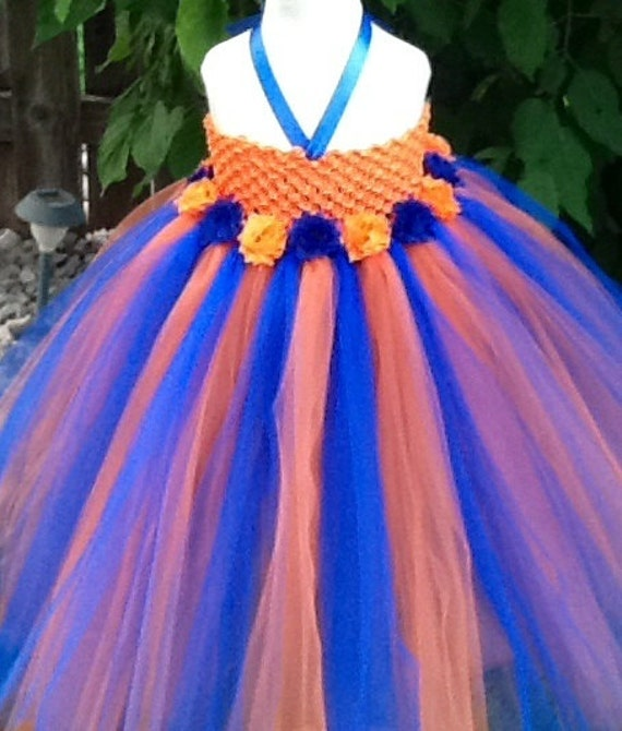 Orange and royal blue tutu dress with shabby chic flowers