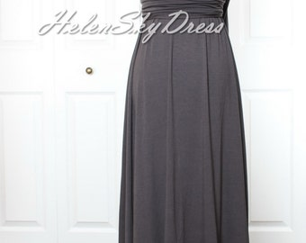 Convertible Infinity Full length Bridesmaids Dress in grey one shoulder dress