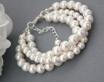 Swarovski Pearl Bracelet, Three Strand Bracelet, Multi Strand Bracelet, Bridesmaids Bracelet, Swarovski Bracelet, White Pearl Bracelet