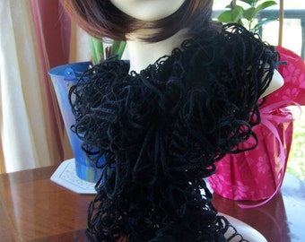 Hand Knitted Black Flamenco Frilly Scarf