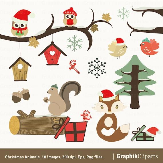Weihnachten Tiere Clipart. Weihnachten-Wald-Tiere. Weihnachten