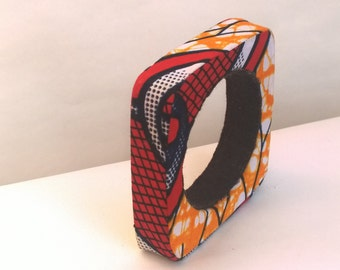 Africa Java Print Fabric Covered Square Bangle Bracelet ***( Make me an offer for this item)***