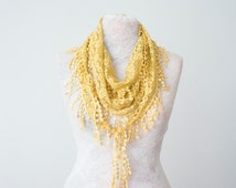 Lace Scarf Mustard Scarf Lace Fringe Scarf Triangle Scarf Fringe Shawl Fashion Accessory Women Accessory Summer Scarf Mother's Day Gifts