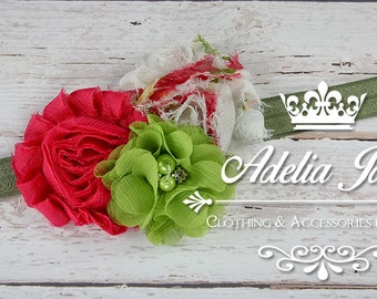 Baby Headband, Little Girls Vintage Headband, Romantic Garden Floral Baby Head Band, Newborn Photo Prop, Toddler Pink Green Shabby Flower