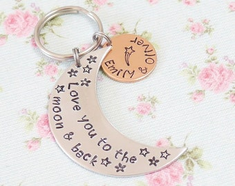 Personalised Gift for Him, Love You To The Moon & Back Personalized Keyring, Birthday Gift for Daddy, For Husband, Childrens Names, New Dad
