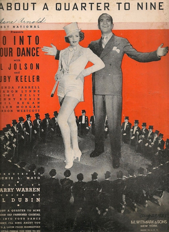 About A Quarter To Nine - Al Dubin - Harry Warren - 1935 - Vintage Sheet Music
