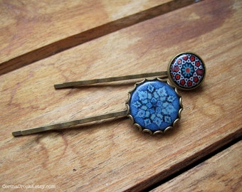 Islamic Wedding accessories, Hair Accessories, Blue Bobby pins, Blue Hair pins, Ethnic tile designs, Islamic jewelry, Moroccan jewelry