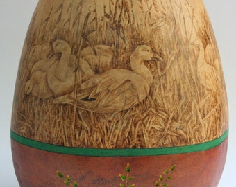 Snow Geese pyrography wood burned Gourd Vase