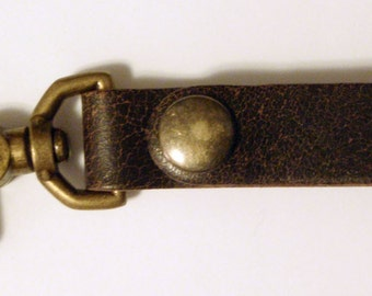 Distressed Brown Leather Key Fob Snap Hook w Antique Brass Snap - By Darkwear Clothing